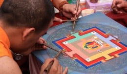 Buddhist monks make art from sand, one piece at a time, at the Lotus Lantern Festival in Seoul, South Korea.