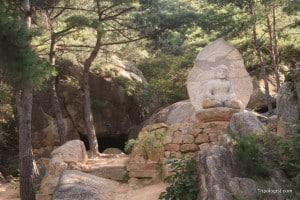 The impressive Shakamuni Buddha statue on Namsan Mountain.
