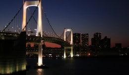 The Rainbow Bridge in Tokyo, Japan.