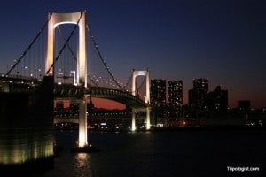 The Rainbow Bridge in Tokyo, Japan.