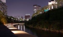 Nighttime on the Cheonggyecheon Stream in Seoul, South Korea.