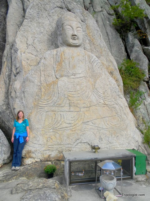 The 7-meter tall Maitreya Buddha carving on Namsan Mountain.