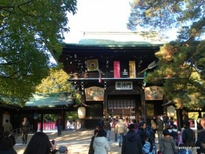 The entrance to Meiji Shrine in Tokyo, Japan.