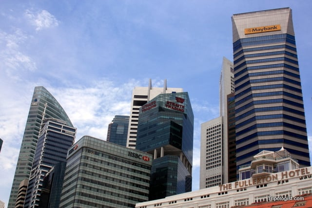 Skyscrapers towering above downtown Singapore.