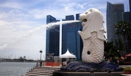 Singapore's imposing Merlion stands watch over the city.