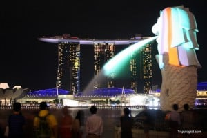 The Merlion and Marina Bay Sands - Two of Singapore's most iconic sites.