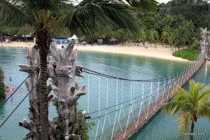 Beautiful blue water and white sand on Singapore's Sentosa Island.