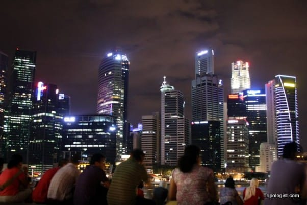 Singapore at night from Marina Bay Sands.