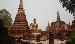 Ancient ruins in Sukhothai, Thailand.
