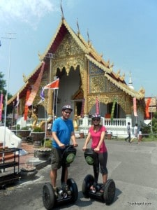 My wife and I outside of Wat Prha Singh.