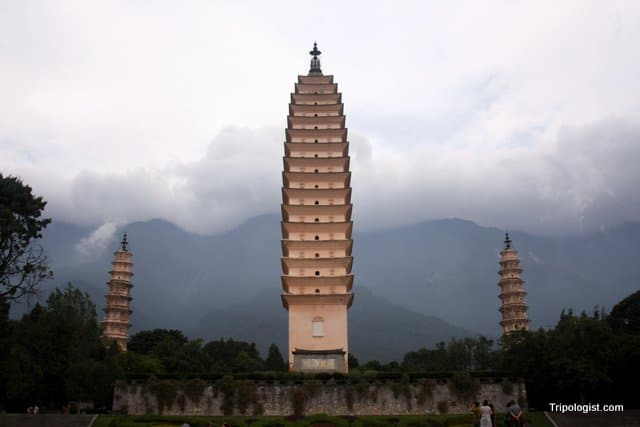 The Three Pagodas of Chong Sheng Temple in Dali, China.