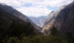 The View of Tiger Leaping Gorge from the Hiking Trail, Yunnan Province, China.
