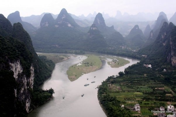As far as the eye can see, karst mountains dot the landscape around Xingping, China.