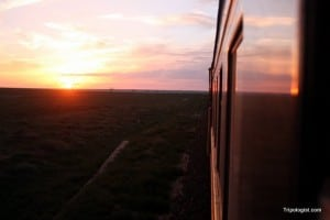 The sunsets over Inner Mongolia Province in China as the Trans-Siberian train passes through.