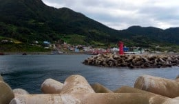 A typical fishing village on Ulleungdo Island in South Korea.