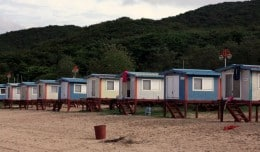 Beach front huts on Muuido Island in South Korea are basic, but inexpensive.