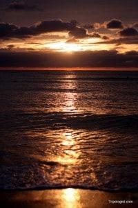 Sunset over the waters off of Haeggae Beach on Muuido.