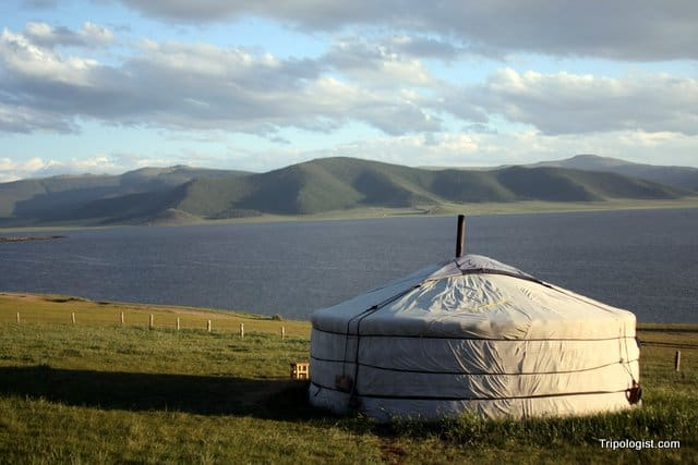 A ger overlooks White Lake in Mongolia.