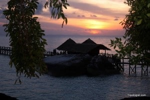 Sunset over the bar at Bagus Place, a magical time.