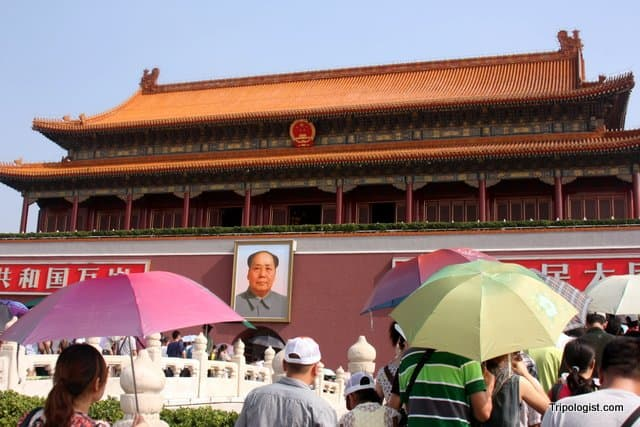 Tourists Crowd the entrance to the Forbidden City in Beijing, China.