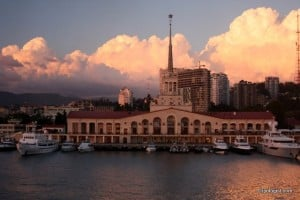 The port of Sochi, Russia, as seen from the top deck of the ferry at sunset.