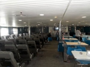 The inside of the slow ferry that runs between Sochi, Russia, and Trabzon, Turkey.