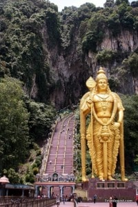 The staircase to the Batu Caves may seem daunting, but the view from the top is magnificent.
