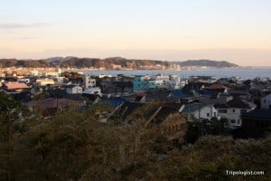The town of Kamakura, Japan as seen from Hasedera Temple.