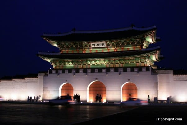 Gwanghwamun Gate in downtown Seoul, South Korea is the outer gate of Gyeongbokgung Palace.
