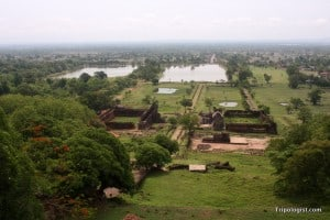 From the top-tier of Wat Phou, it is possible to see the surrounding country-side and even the Mekong River in the distance.