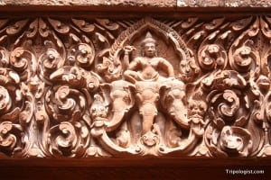 Fantastic relief carvings adorn several of the temples at Wat Phou in Laos.