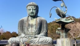 Daibutsu, the giant Amida Buddha statue of Kamakura Japan, located inside Kotoku-in Temple.