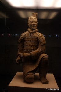 One of the Terracotta Warriors on display for closer inspection.