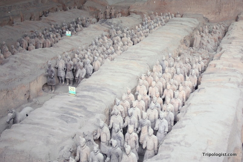 A row of Terra Cotta Warriors in Xi'an, China.