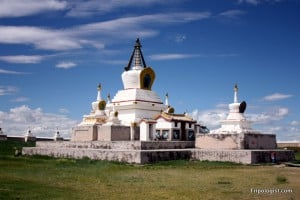 One of the many pagodas that dot Erdene Zuu Monastery in Mongolia.