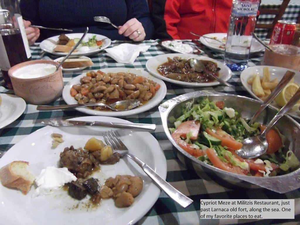 Cypriot Meze at Militzis Restaurant, just part Larnaca's old fort, along the sea. One of my favorite Places to Eat.