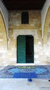 The entrance to Hala Sultan Tekke Mosque in Larnaca.