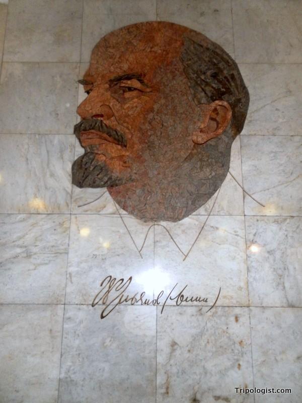 A marble mural of Vladimir Lenin inside Komsomolskaya Station.