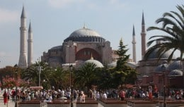 Aya Sofia, where Christian frescoes stand alongside Muslim Icons in Istanbul, Turkey.