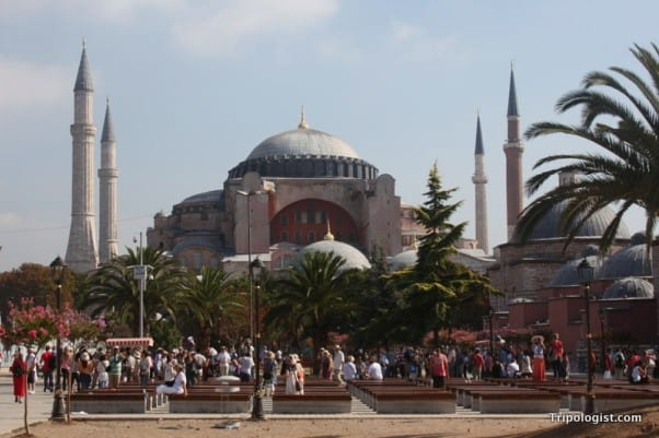 Aya Sofia, where Christian frescoes stand alongside Muslim Icons in Istanbul, Turkey.