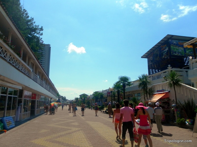 The boardwalk in Sochi is a great place to people watch or grab a nice beer.