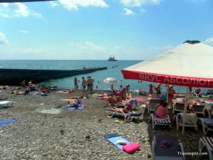 Sochi, Russia has miles and miles of beautiful pebble beaches.