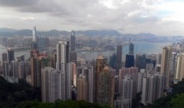 The view of Hong Kong Island and Kowloon from the top of Victoria Peak.