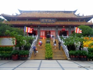 The main hall of Po Lin Monastery on Lantau Island in Hong Kong.