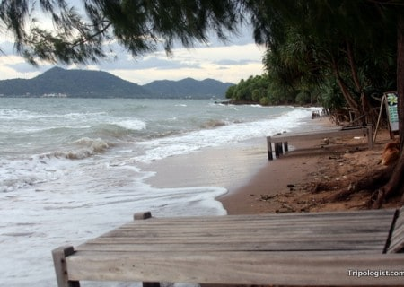 The beach on Koh Tonsay with the Cambodian coast in the distance.