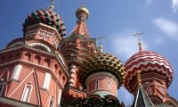Staring up at St. Basil's Cathedral in Moscow, Russia.