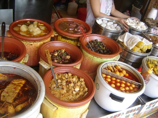 An assortment of street food in Shenzhen, China.
