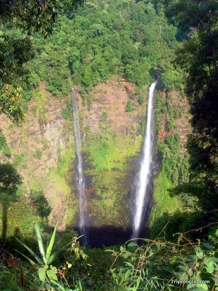 The twin falls of Tad Fane on the Bolevan Plateau in Laos.