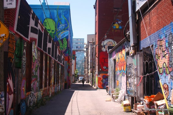 An otherwise normal backstreet, Graffiti Alley is one of the best paces to view graffiti in Toronto.