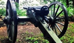 A cannon sits alone on Seminary Ridge at the Gettysburg Battlefield in Gettysburg, Pennsylvania.